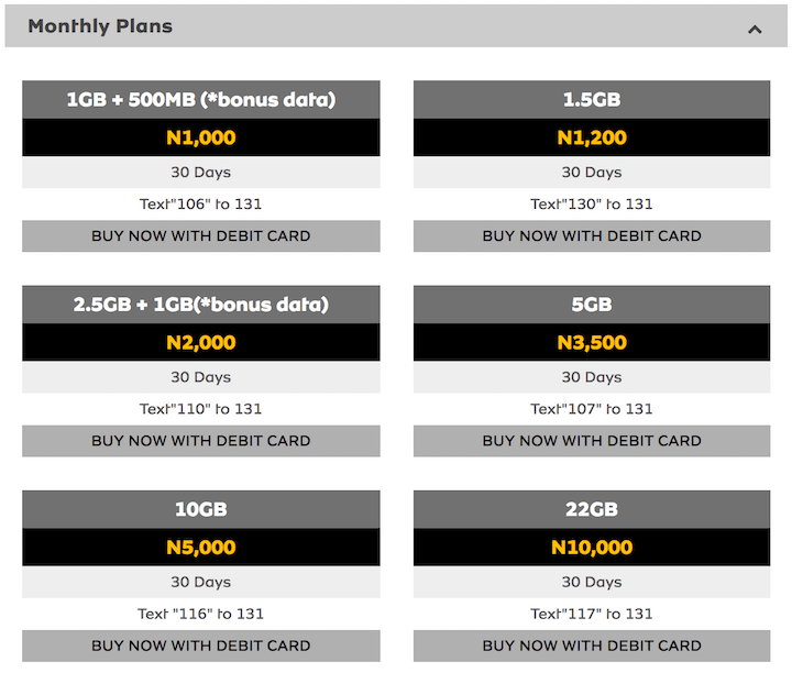 MTN_Nigeria Internet Data Plans