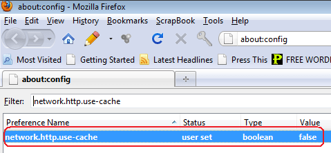 Disable Firefox Browser Cache