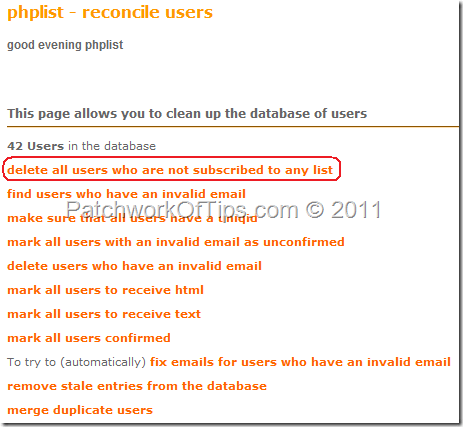 Delete PHPList Users From PHPList Database