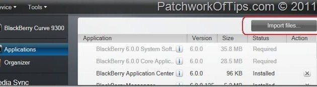Import BlackBerry App Via Desktop Software