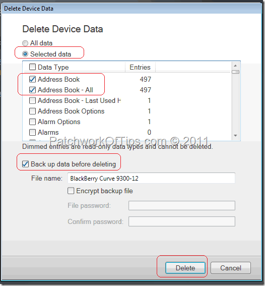 Delete BlackBerry Address Book