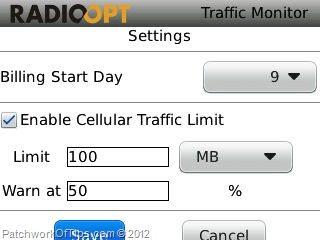 Traffic Monitor For BlackBerry Settings