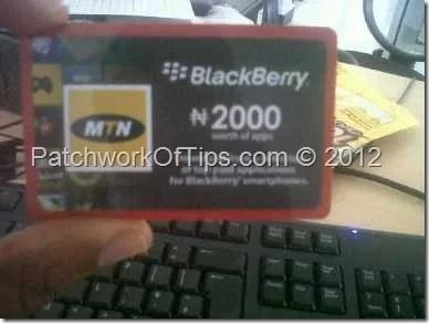 MTN BlackBerry Appworld Recharge Card