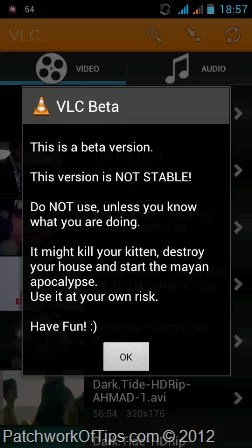 VLC For Android Beta Warning