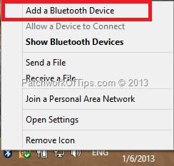Add Bluetooth Device In Windows 8