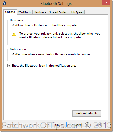 PC Bluetooth Settings