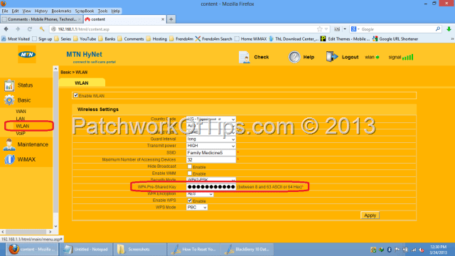 Change MTN HyNet Wi-Fi Access Password