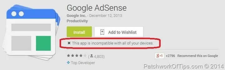Google Adsense Incompatible With Device