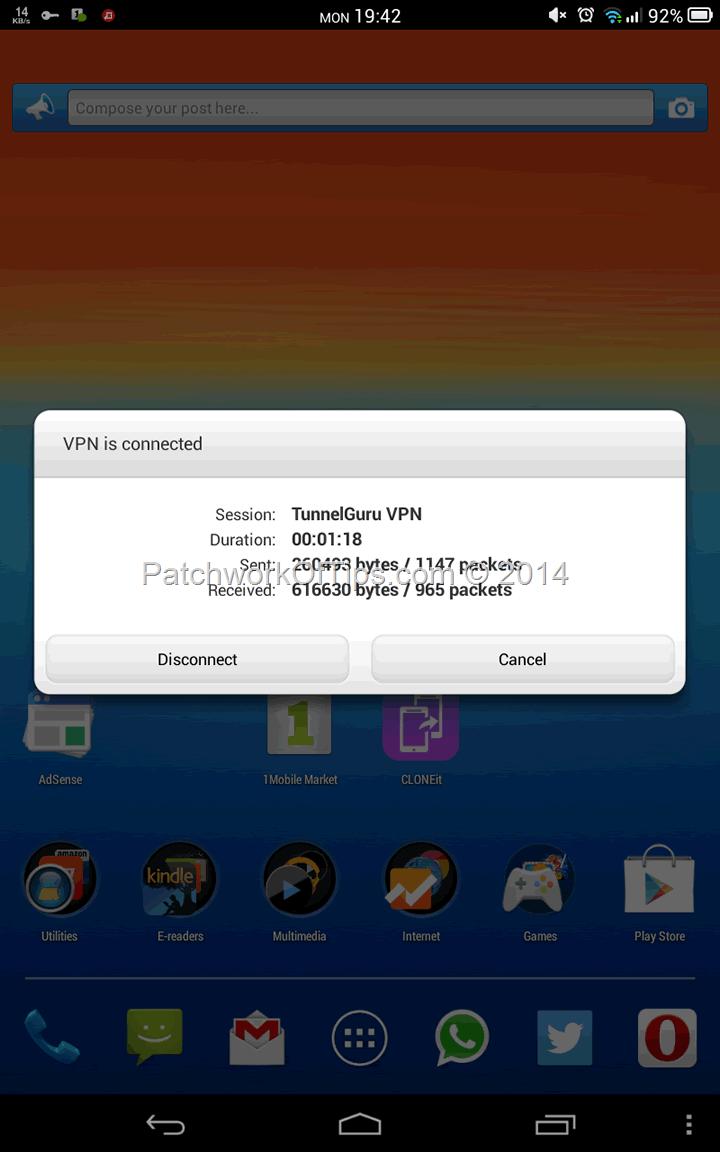 TroidVPN's TunnelGuru Connected On Android KitKat 4.4.2
