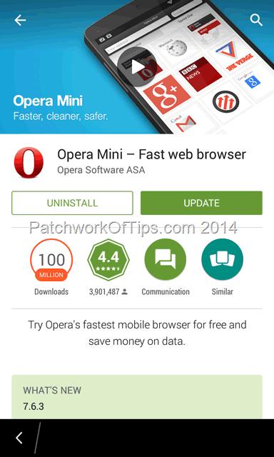 Google Play Store Updating Opera Mini BlackBerry 10