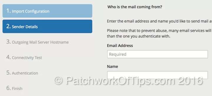 Postman SMTP Setup Sender Details