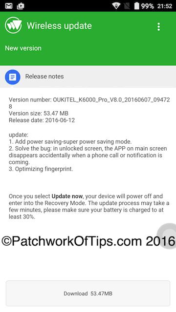 Oukitel K6000 Pro OTA Update