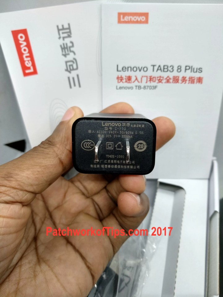 Lenovo TAB3 8 Plus 5V:2A Wall Adapter