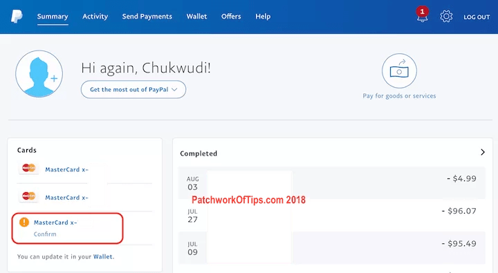 Confirm Nigerian Debit Card Added To PayPal 6