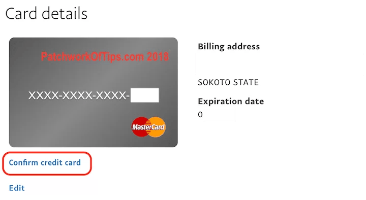 Confirm Nigerian Master Card Added To PayPal 7