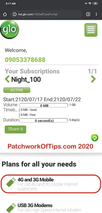 Glo_N100_1GB_Data_Plan _Subscription_Via_HSI_Glo_Portal 1