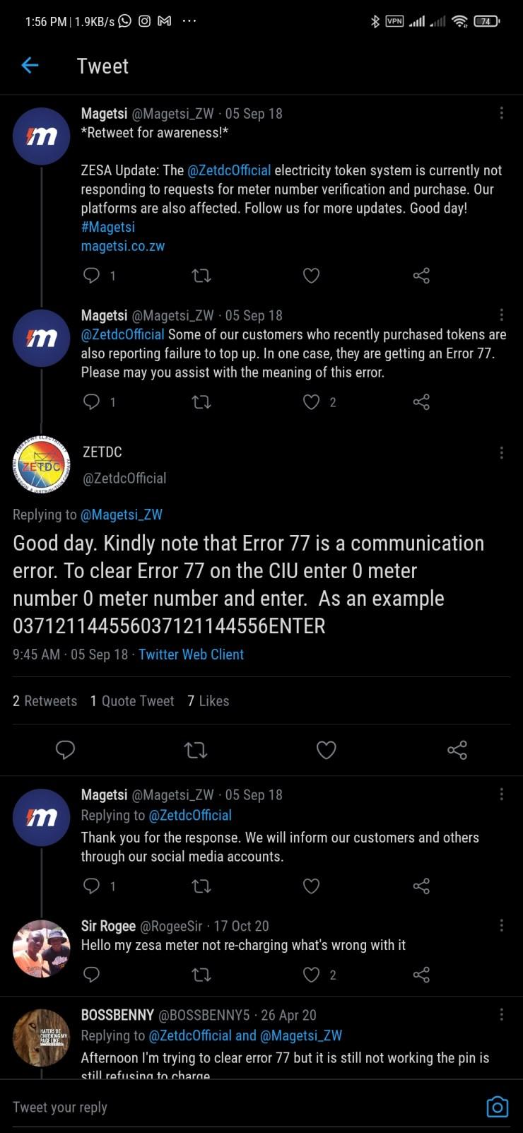 Kaduna Electric Prepaid Meter Error Code