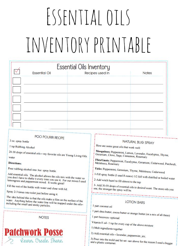 Essential Oil List Blank Printable