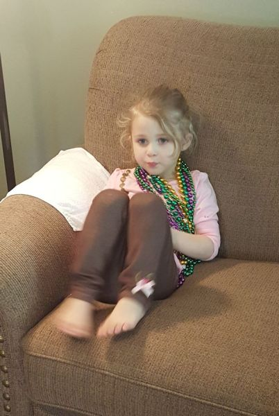 Addie with her Beads