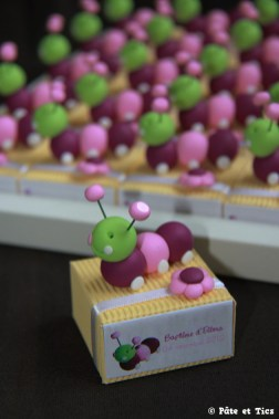 Boîtes à dragées chenilles thème insectes, nature et campagne