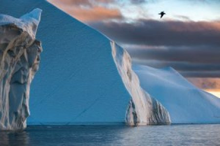 Icebergs at the entrance to the icefiord south of Ilulissat, Greenland