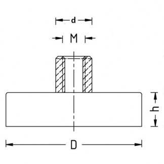 Internal Thread Pot Magnets PME-D10 - Force 2.0kg