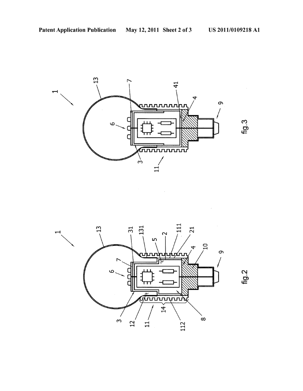 Led light structure with internal electronic circuit diagram