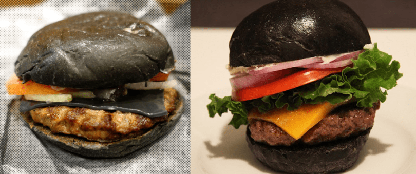 The Burger King vs. Pâté Smith Black Burger. Only one will win. Left image c/o Gawker.