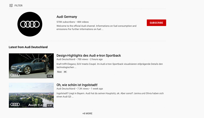 Beispiel von YouTube Marketing