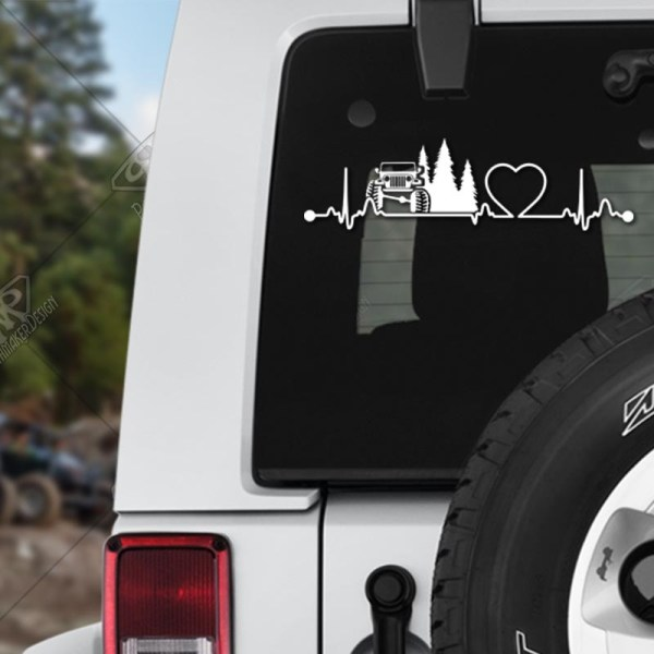 Heartbeat Jeep Vinyl Decal