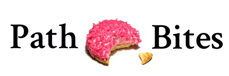 path bites pink cookie word logo