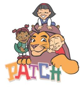 Patch logo with lion and little kids