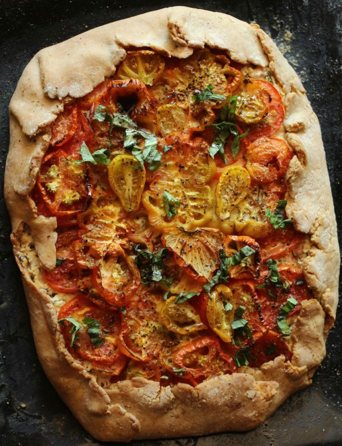 Rustic Whole Wheat and Heirloom Tomato Galette