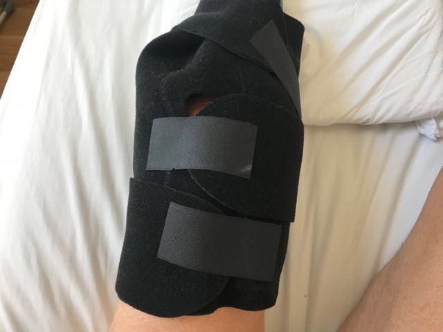 Knee with ice pack holster on it