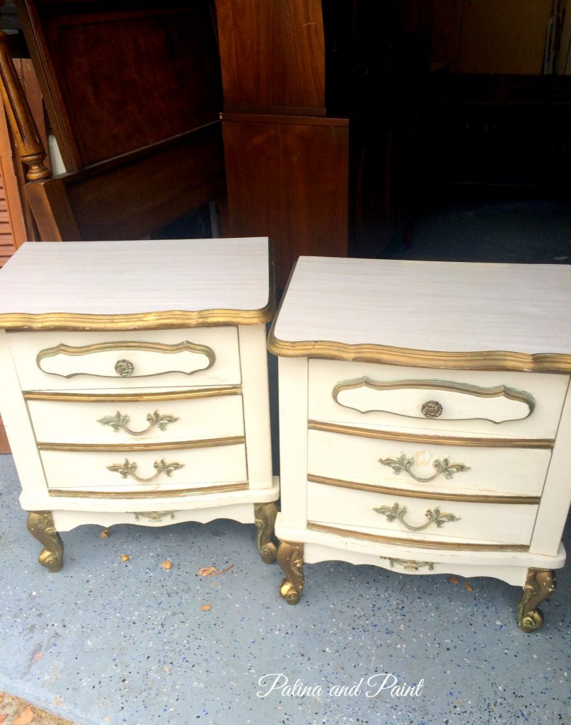 Nightstands before and after patina and paint for Little girls nightstand