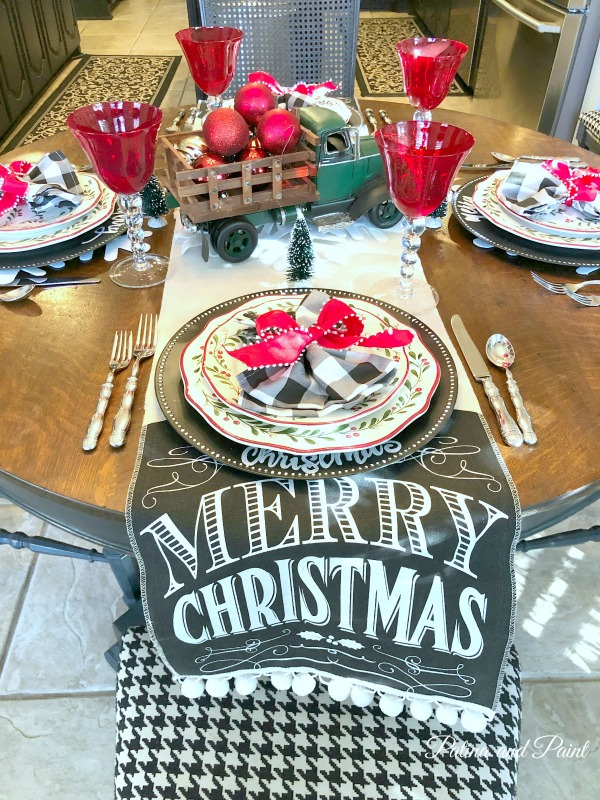 black, white and red Christmas kitchen