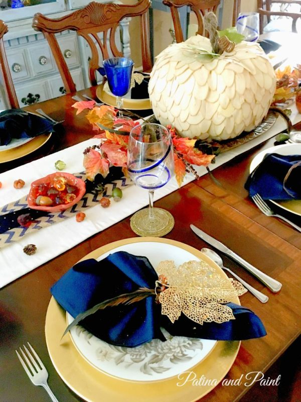 Blue and Brown Thanksgiving Table 10