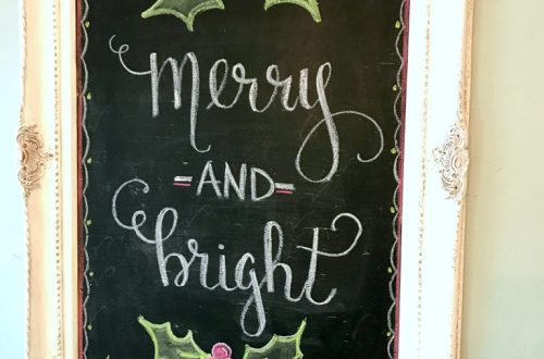 Merry and Bright Chalk board sign