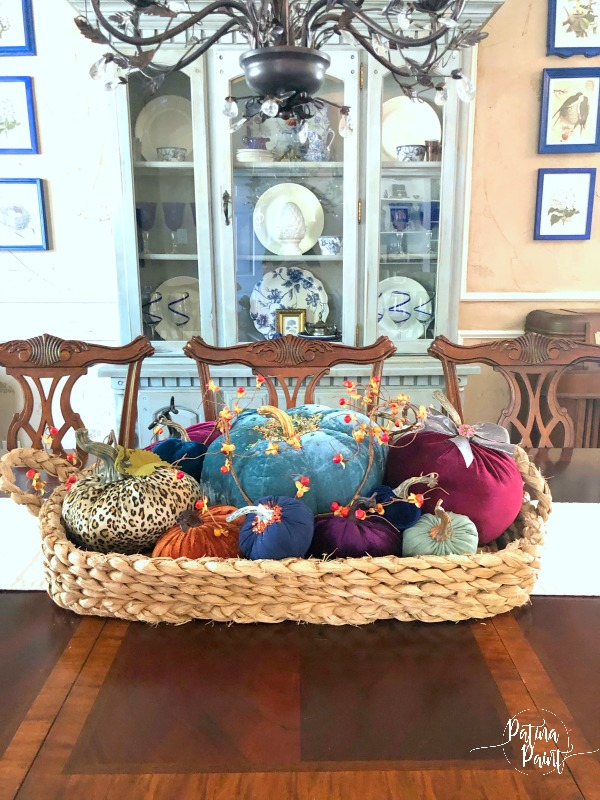Magnolia basket and velvet pumpkins
