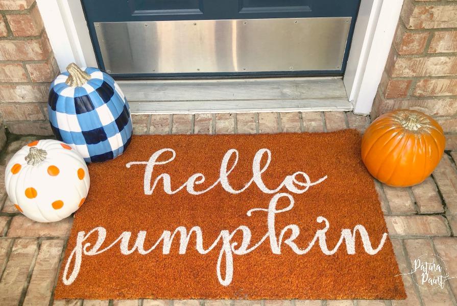 Buffalo check pumpkin and door mat