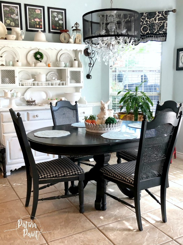 dining room table and chairs, kitchen hutch