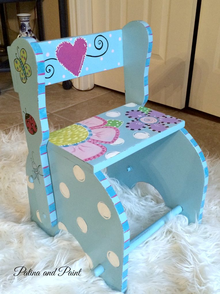 A Little Spray Paint In A Light Turquoise, A Little Distressing On The  Edges And It Was Ready For Me To Hand Paint A Design. Woo Hoo! Kids Chair 6