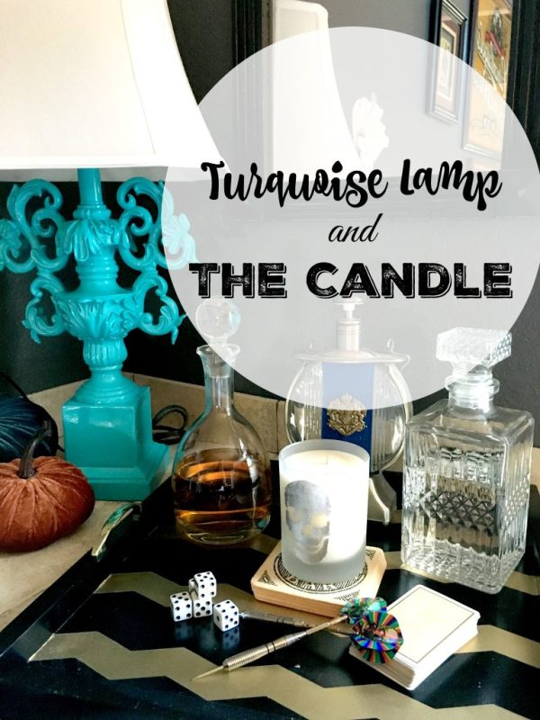 turquoise lamp and candle
