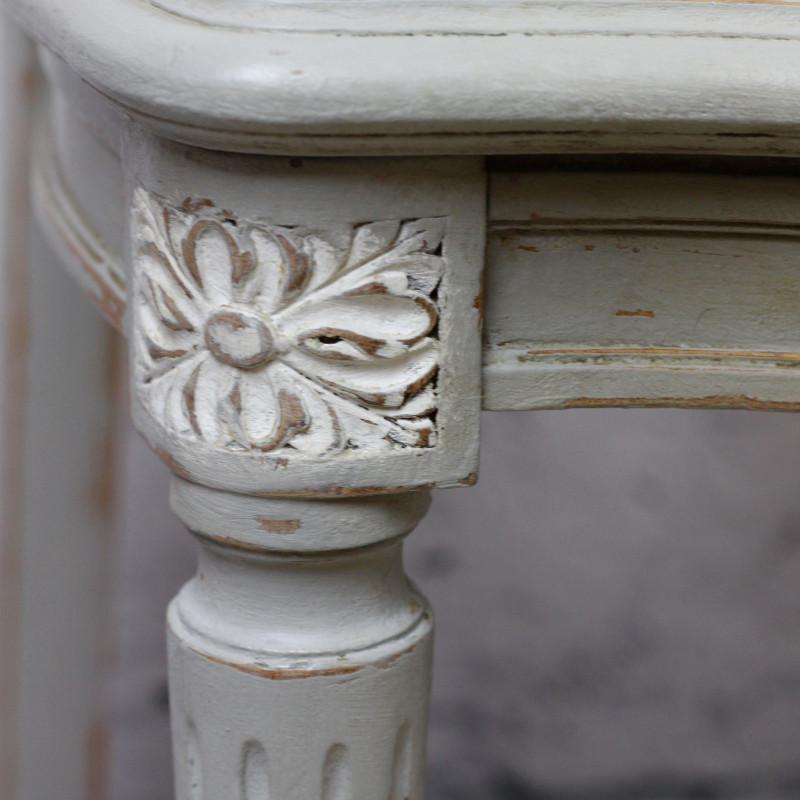 Chaise En Bois Style Louis XVI Patine Grise Assise Et Dos