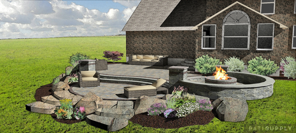 Paver Patio & Fire Pit, Springboro OH « Patio Supply ... on Paver Patio Designs With Fire Pit id=17083