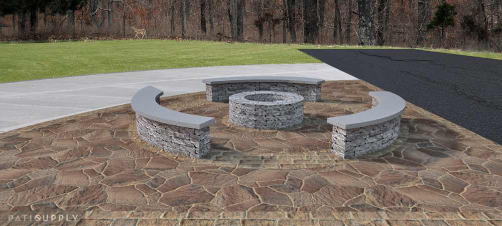 Seatwalls, Fire Pit, & Paver Patio, Waynesville OH « Patio ... on Paver Patio Designs With Fire Pit id=16327