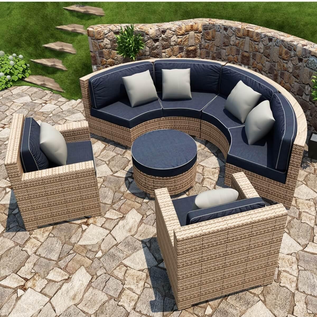 5 Piece Hampton Radius Sectional Outdoor Patio Furniture ... on 5 Piece Sectional Patio Set id=61978