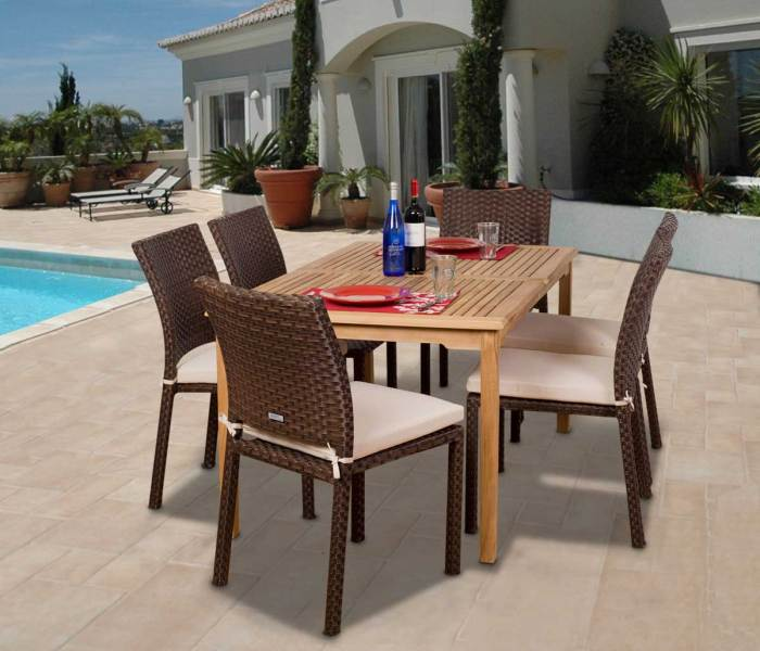 Affordable Outdoor Furniture  10 Best Dining Sets Under  1 500 luxemburg 7 piece teak wicker dining set outdoor patio classic design  modern design style synthetic durable