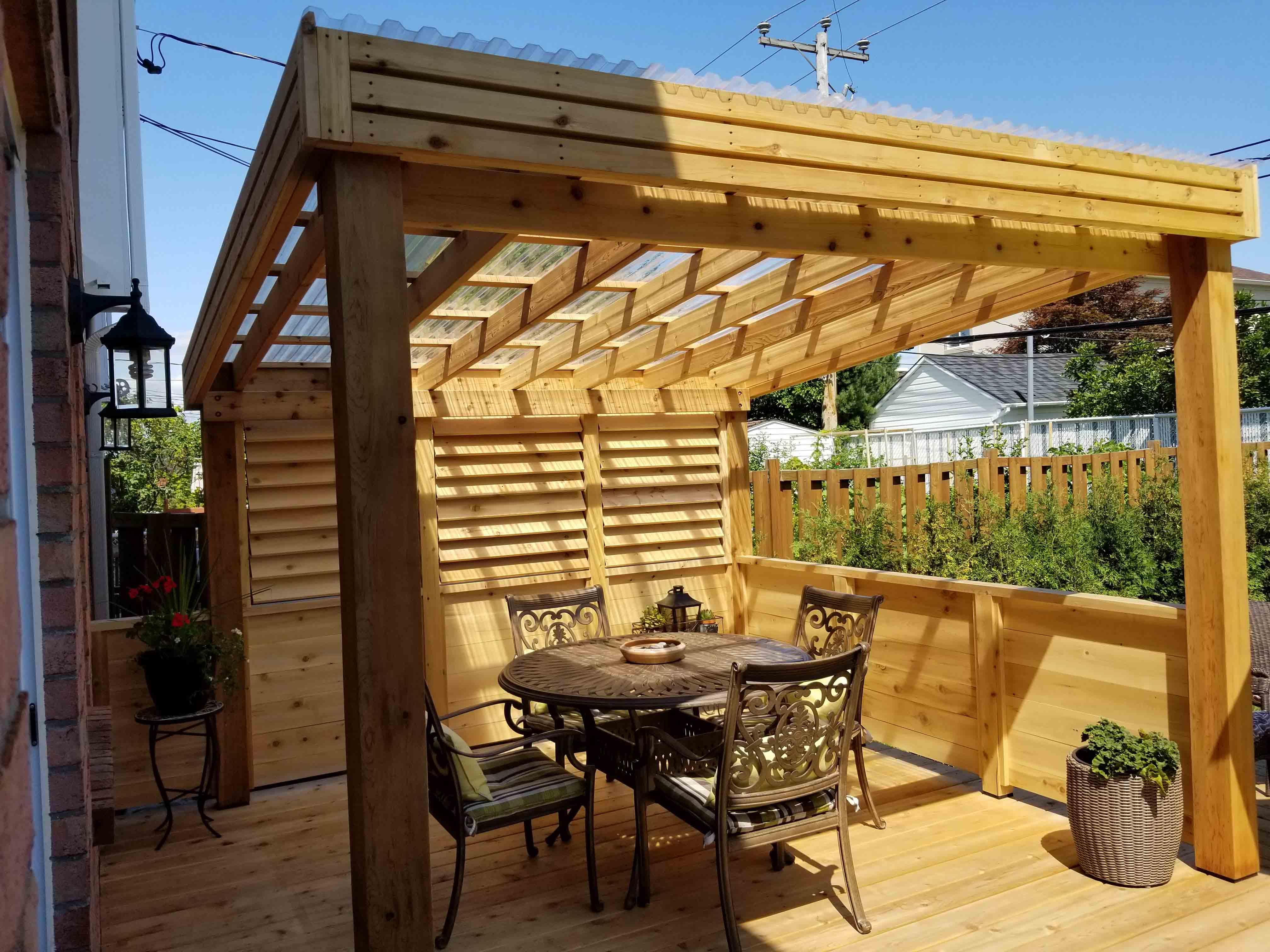 terrasse avec pergola parasol ou toile
