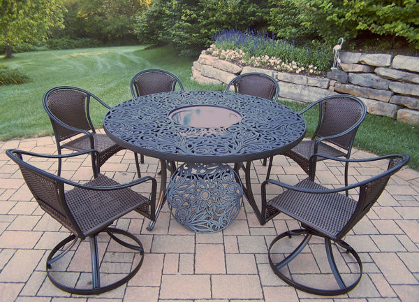 tuscany 8 pc dining set with 60 inch interchangeable aluminum round table 4 resin wicker woven stackable chairs 2 swivel chairs and stainless